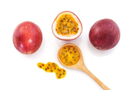 Close up a fresh passion fruit on white background