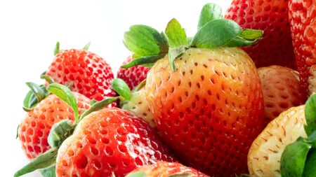 Close up  fresh of young red strawberry fruit