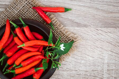 fresh red chilli pepper on table , rich of antioxidant herbal food