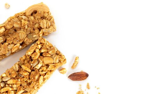Close up homemade healthy granola crunchy biscuit bars , vegan friendly snack , healthy food concept