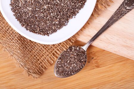 Close up a Chia seeds in  spoon , superfood and rich of nutrient an antioxidant