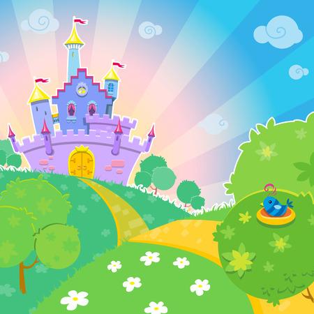 Cute vector illustration with a fairytale castle on sunny meadow.