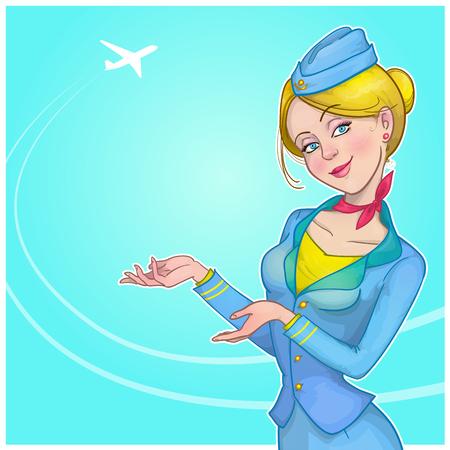 Vector illustration of a stewardess. Illustration