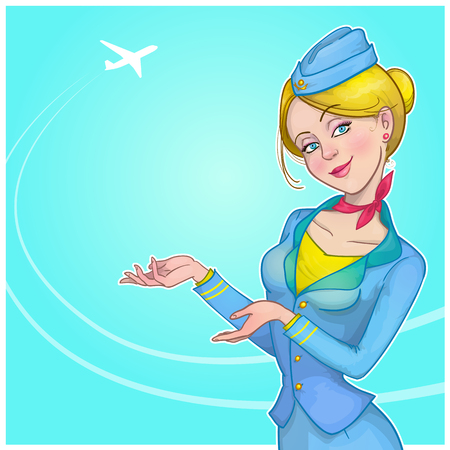 Vector illustration of a stewardess. Vettoriali