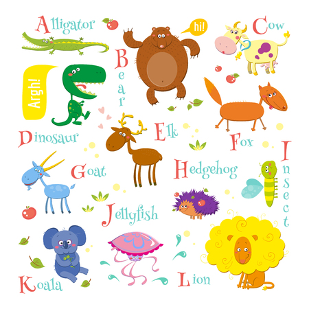 Set of english zoo alphabet with cute cartoon different animals isolated on white background. Funny vector illustrations for children. Alligator, bear, cow, dinosaur, elk, fox, goat, hedgehog, insect, jellyfish, koala and lion. Illustration