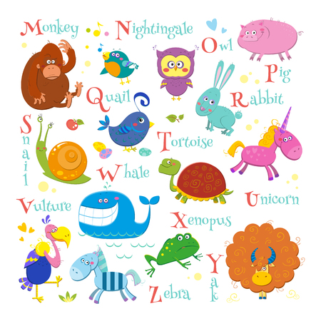 Set of english zoo alphabet with cute cartoon different animals isolated on white background. Funny vector illustrations for children. Monkey, nightingale, owl, pig, quail, rabbit, snail, tortoise, unicorn, vulture, whale, xenopus, yak and zebra.