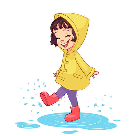 A happy girl in a yellow raincoat and rubber boots plays in the rain, puddle splashing. Isolated kids vector illustration.