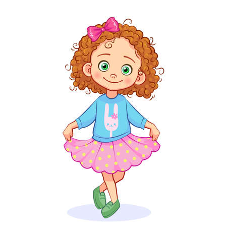 Vector cute girl with a bunny on clothes standing in a pose of reverence. Cartoon isolated child character on a white background.