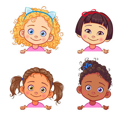 Vector set of multi-ethnic little girls holding a white banner. Funny kids of different races with various hairstyles.