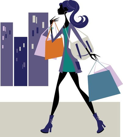 Chic Woman Shopper Vector