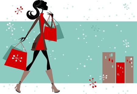 Woman Christmas Shopping Illustration