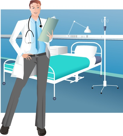 Handsome Male Doctor Stock Vector - 15999750
