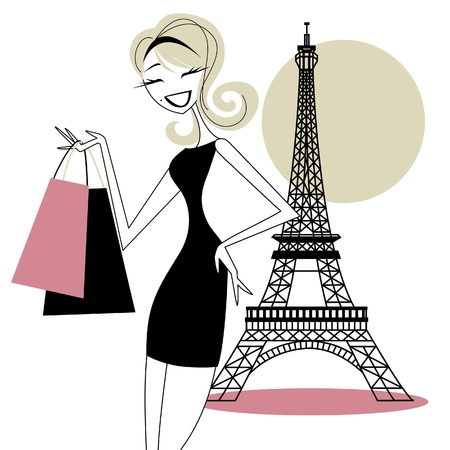 Pretty Woman Shopping in Paris Vector