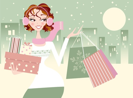 Beautiful Woman Shopping in Winter City Setting Vector
