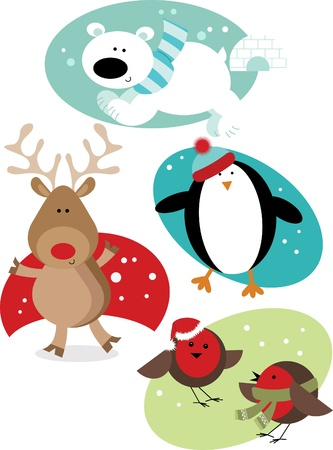 robin bird: Christmas Animals Illustration