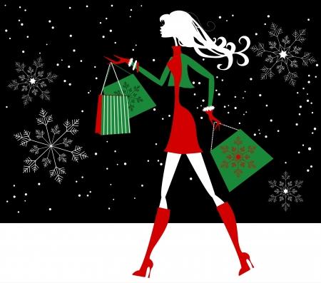 botas de navidad: Compras de Navidad silueta de la muchacha Vectores