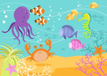 sea creatures: Fun Underwater Scene Illustration