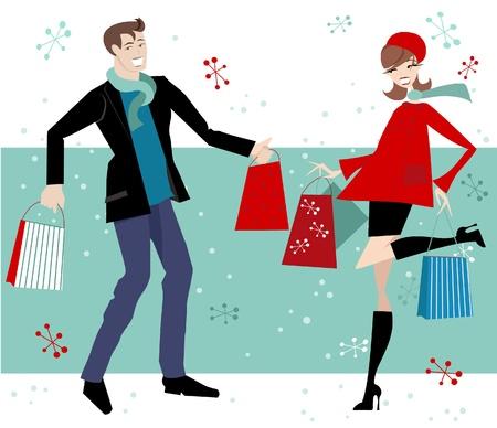 uomo rosso: Felice Coppia Shopping di Natale Vettoriali