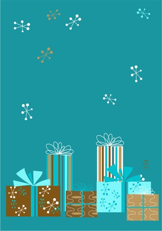 Christmas Presents in Retro Style Illustration