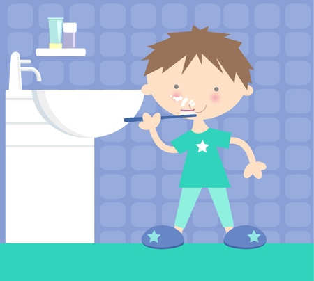 Boy Brushing His Teeth at Bathroom Sink Vector
