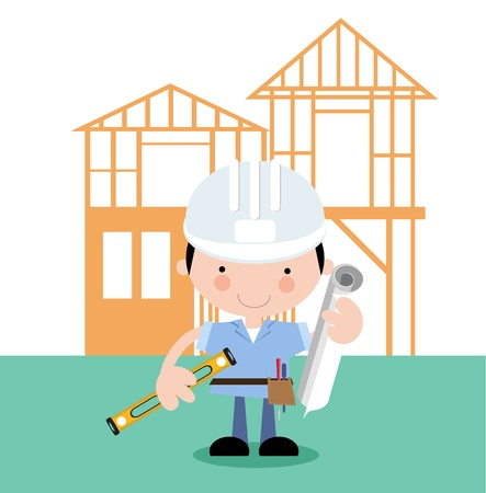 magabiztos: Férfi építész, Surveyor, projektmenedzser Illusztráció