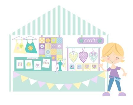 paper craft: Artesan�a-Craft mercado Feria de Artesan�a de pastel colourway Vectores