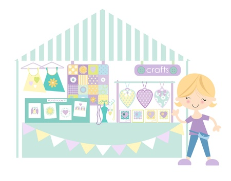 crafts person: Crafts-Craft market Craft Fair Pastel Colourway Illustration