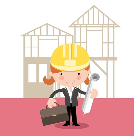 architect drawing: Female Architect,Surveyor, Project Manager