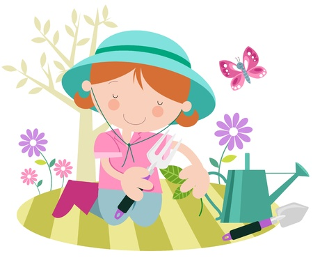 Happy Female with Plants in the Garden- Spring Summer Illustration