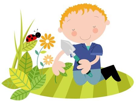 cultivating: Hombre o J�venes con plantas en el Jard�n de verano-primavera Vectores