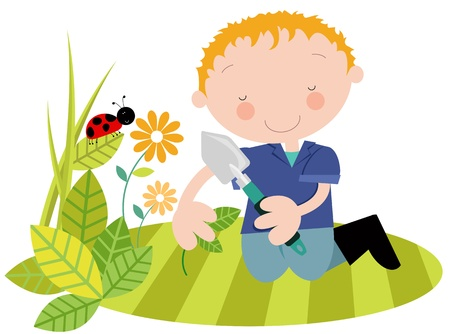 Man or Youth with Plants in the Garden- Spring Summer Vector