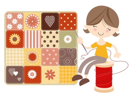 Craft Girl With Patchwork Quilt Vector