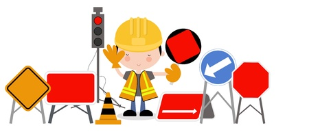 Man with Roadworks sign and Traffic Lights Illustration