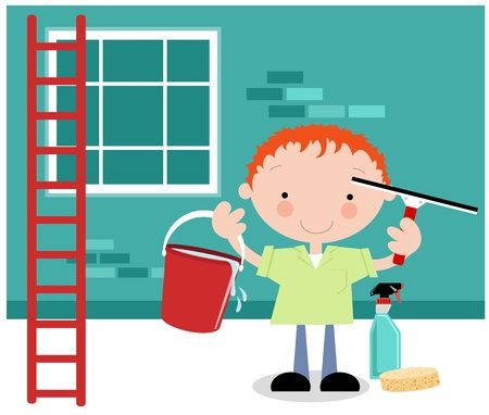 window washer: Window cleaner Illustration