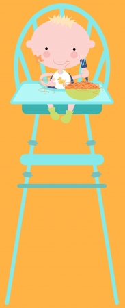Baby or Toddler in High Chair Eating Food Vector