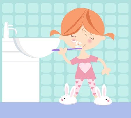 bedtime: Girl Brushing Her Teeth