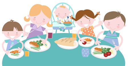 woman eat: Happy Family Meal Tener Juntos Vectores