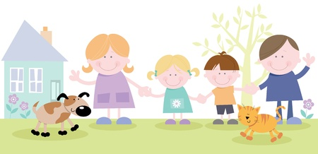Happy Family Together Outside Family Home Vector