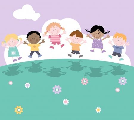 bambini che giocano: Bambini felici che giocano Outsdie-Multicultural Vettoriali