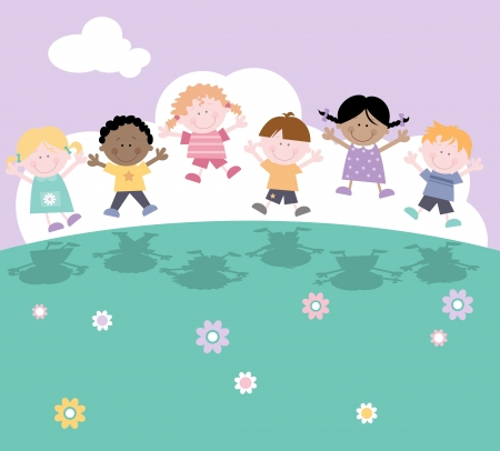 Happy Children Playing Outsdie-Multicultural Vector