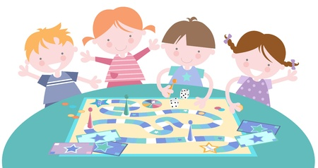 toddler playing: Kids Together Playing Board Games Illustration
