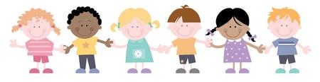 Multi Cultural Children Together Holding Hands Stock Vector - 16484629