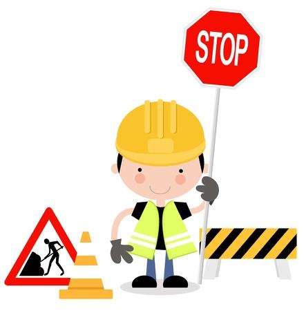 roadworks: Roadworks Guy Holding Stop Sign Illustration