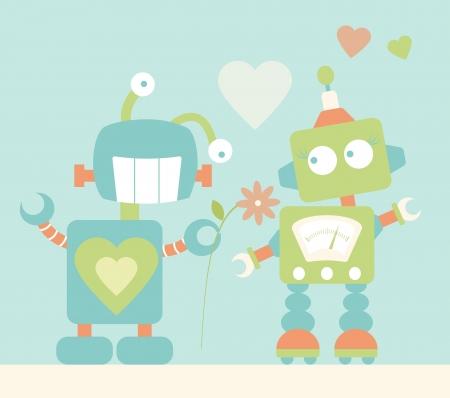 Cute Robots in Love Stock Vector - 16484615