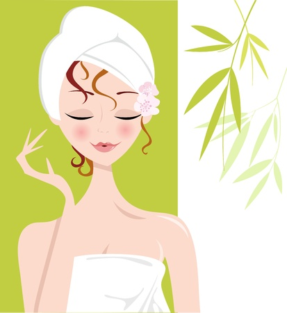 Spa Girl with Towel Wrap Illustration