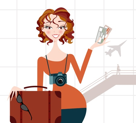 Woman on Vacation Vector