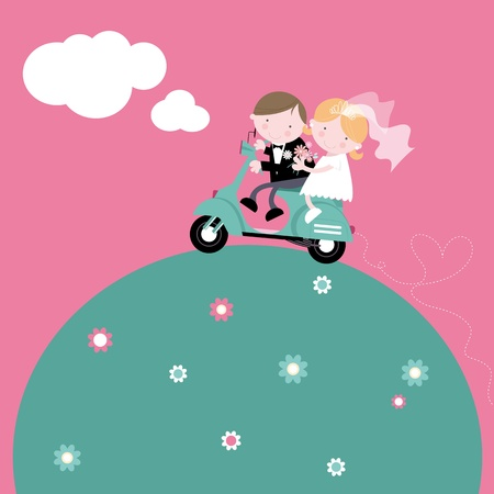 heterosexual couple: Bride and Groom on Scooter Illustration