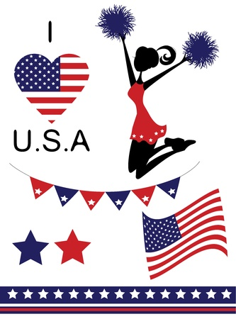 American icons set including cheerleaader, flag, banner, and heart filled with stars and stripes