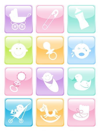 Fun set of baby icons web button set Vector