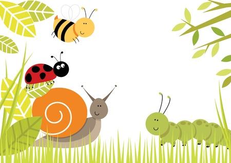 Cute bugs creating border including snail, ladybird, caterpillar and bee